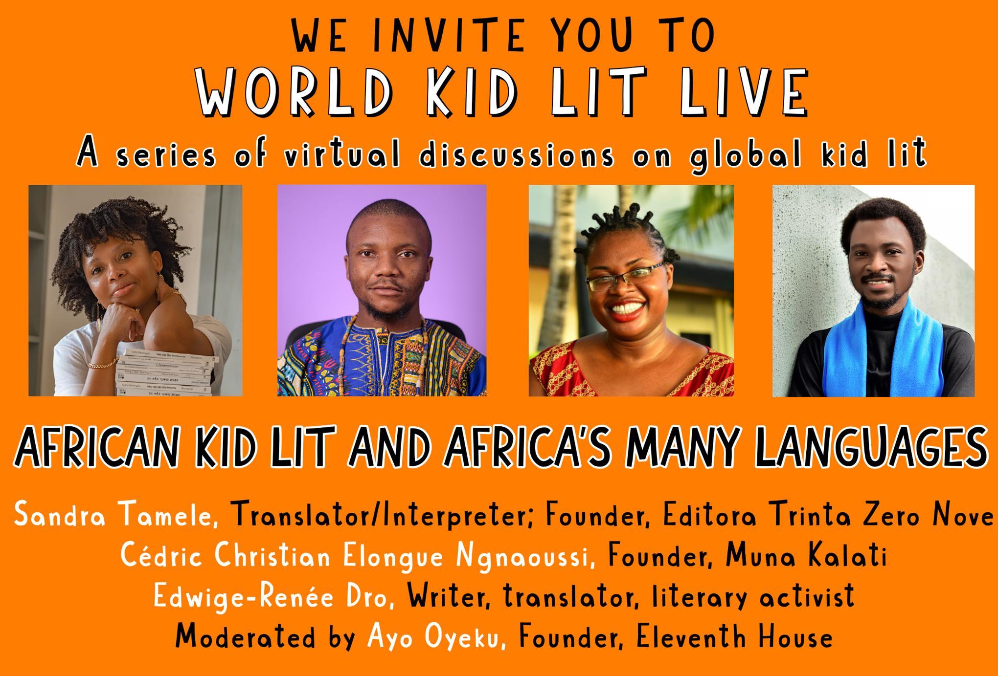 Banner showing photo of panel speakers Sandra Tamele, Christian Elongue, Edwige-Renée Dro and Ayo Oyeku